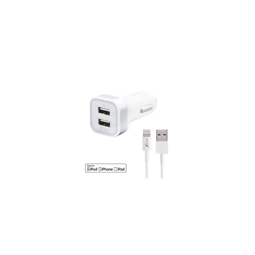 X One Cargador Coche USB 21A Cable Lightning MFI